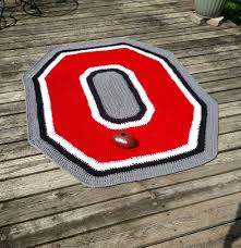 large ohio state buckeyes large crochet area rug handmade