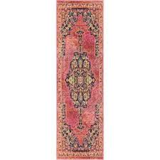 passionate 8 runner pink multicolor boho area rug