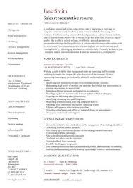 Sales Rep Resume Representative Example