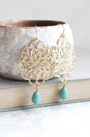 gold filigree earrings big dangle large chandelier turquoise pearl drop earrings teal bridal jewelry bridesmaids gift gold lace earrings