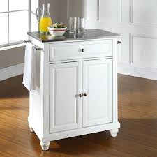 stainless steel top portable kitchen island white by
