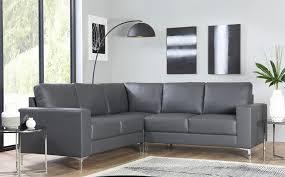 baltimore grey leather corner sofa