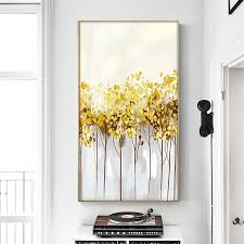 gold leaves modern canvas painting