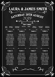 Personalised Wedding Table Seating Plan Names Numbers Poster Print Vintage Chalkboard N156 Print Only Unframed Large A1 A2 A3 Size A2 Print 42cm