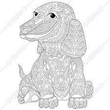 Small Picture Adult Coloring Page Dachshund Dog Zentangle Doodle Coloring