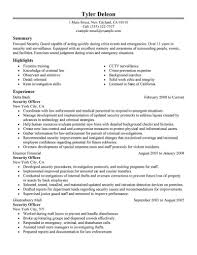 Security Officer Resume Objective New Security Guard Resume Sample