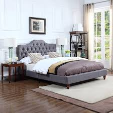 DIVANO ROMA FURNITURE Classic Grey Tufted Fabric Low Profile Bed Frame (Queen)