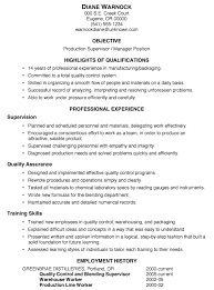 Gallery Of Resume Sample Production Supervisor Manager Production