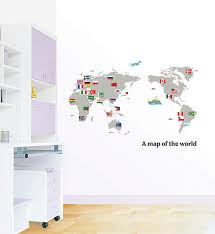 a map of the world home decor mural art point wall sticker ps168