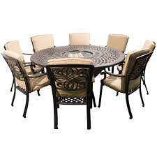 metal outdoor dining chairs. Kensington Firepit \u0026 Grill 8 Chair Dining Set With 180cm Round Table Metal Outdoor Chairs R