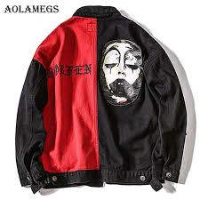 <b>Aolamegs</b> Denim <b>Jacket Men</b> Clown <b>Patchwork</b> Ripped Casual ...