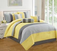awesome gray and yellow bedding comforter set with white bedside table