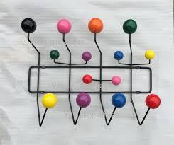 Ball Coat Rack Modern Design Black Steel Wire multi Color wooden Ball hanger rack 9
