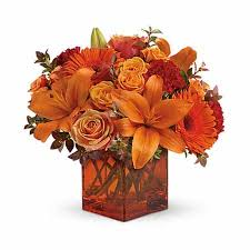 Orange flowers and orange roses from send flowers, free flowers delivery