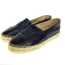 chanel espadrille g29762 leather shoes navy x black size 36 chanel
