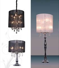 fancy chandelier table lamp with transpa drum shade for terrific bedroom interior