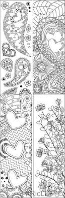 set of 8 coloring bookmarks with hearts art doodles for valentines day digital