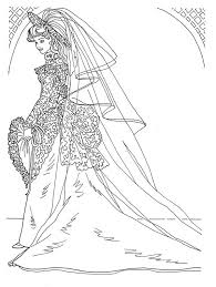 Wedding Day In Bridal Gown Barbie Doll Coloring Page Coloring Sun