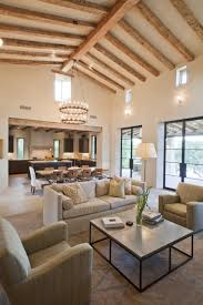 Traditional Vaulted Ceiling Kitchen Living Room With Hanging Lamp