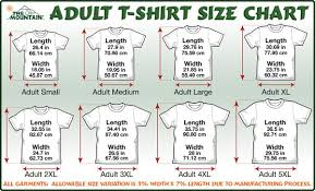 Regular Fit T Shirt Size Chart The Mountain T Shirts Size Chart