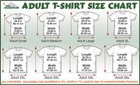 The Mountain T Shirts Size Chart
