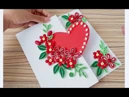 Diy Paper Quilling Flower Card Design 38 Quilling Flower Heart Valentines Card