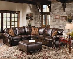 rustic leather sofa. Rustic Leather Sectional Sofa With Tables And Carpets A