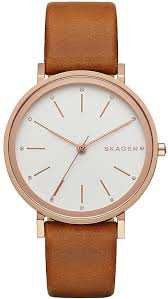 women s skagen hald brown leather strap watch skw2488 loading zoom