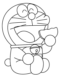 doraemon eats cookie coloring page