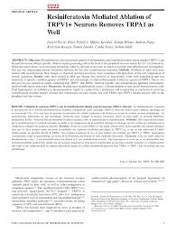 Pdf) Resiniferatoxin Mediated Ablation Of...