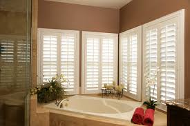 plantation shutters are the practical solution for this master bath