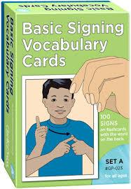 Basic Signing Vocab Cards Set A 100 Pk 4x6
