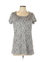 Details About Bali Women Gray Short Sleeve Top Xl