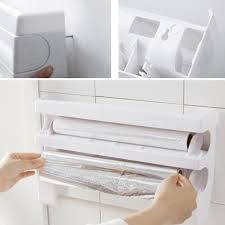 3 in 1 kitchen roll holder cling kitchen towel foil dispenser wall mounted