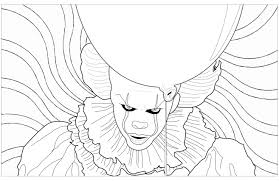 Ca Clown Pennywise Psychedelic Background Halloween Adult Coloring