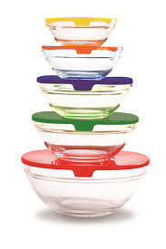 image of farberware 5 glass bowl set with lids multi