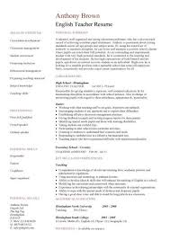 English Teacher Resume Template Cv Examples Teaching Academic English Resume  Template