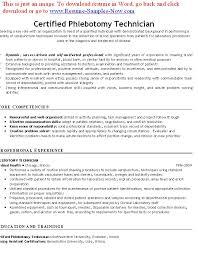 Free Phlebotomy Resume