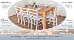 Wooden Nature Esstisch Set 348 Inkl 8 Stühle Weiß Buche