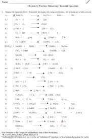 balancing chemical equations worksheets with answers reactions types of worksheet writing and