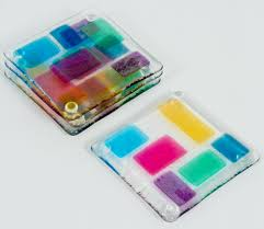 jewel toned coasters by renato foti (art glass coasters)  artful home