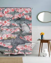 modern decoration shark shower curtain ont design hunters cat and sharp shirter