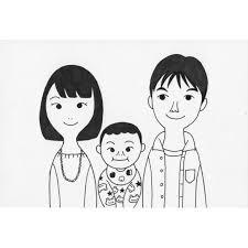 家族の似顔絵 かわいいモノクロ