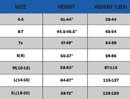Youth Size Chart Capelli Sport Size Charts