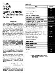 mazda rx body electrical troubleshooting manual original