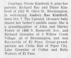Audrey Rae Kimbrell birth announcement - Newspapers.com