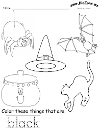Vocabulary worksheets for ten colors. Black