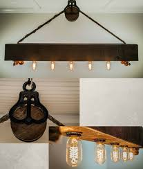 barnwood beam chandelier with edison bulbs rope and pulley