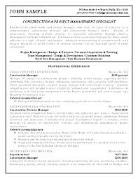 Project Manager Resume Construction Construction Manager Resume
