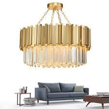 Runde Moderne Kronleuchter Beleuchtung Wohnzimmer Gold Kristall Lampe Luxus Edelstahl Led Lustre Neue Ebene Montieren Licht Ems
